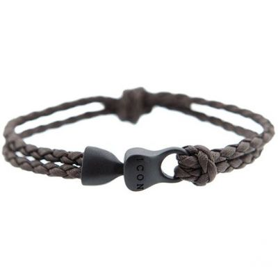 Mens Icon Brand Black Ion-plated Steel Knott Now Bracelet LE1212-BR