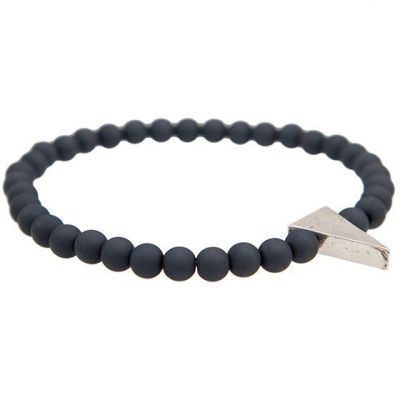 Mens Icon Brand Silver Plated On Point Bracelet P1300-BR-GRY