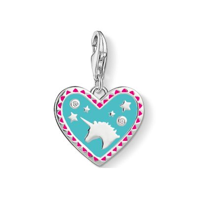 Thomas Sabo Dames Charm Club Heart With Unicorn Charm Sterling Zilver 1470-041-17