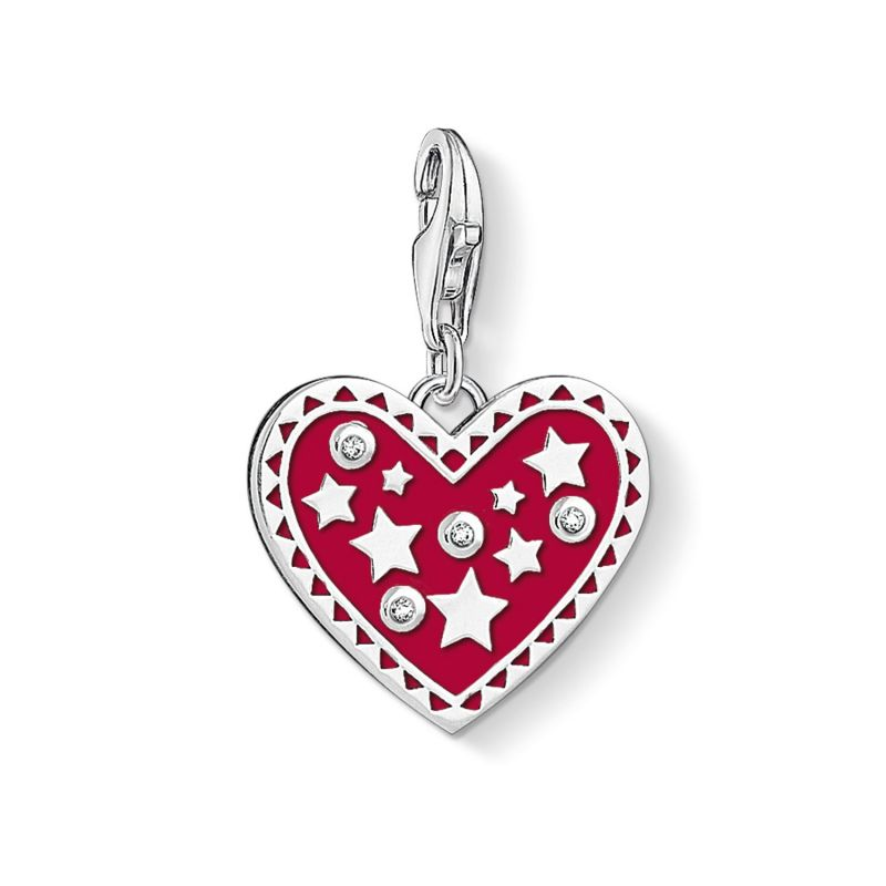 Ladies Thomas Sabo Sterling Silver Charm Club Heart & Star Charm 1481-041-10