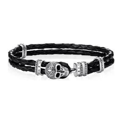 Mens Thomas Sabo Sterling Silver Rebel at Heart Skull Bracelet A1697-823-11-L18,5