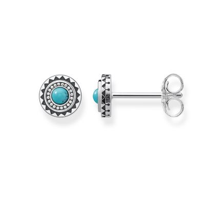 Ladies Thomas Sabo Sterling Silver Glam & Soul Ethno Turquoise Stud Earrings H1960-878-17