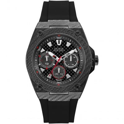 GUESS Gents carbon fibre look watch with black dial and black silicone strap.