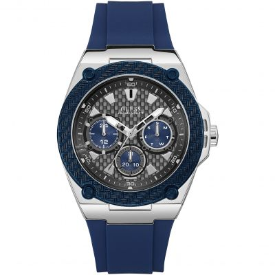 GUESS Gents silver watch with blue trim, grey multifunctional dial and blue silicone strap.
