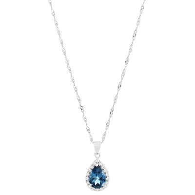Ladies Gemstone Sterling Silver London Blue Topaz Necklace G0119P-LBT