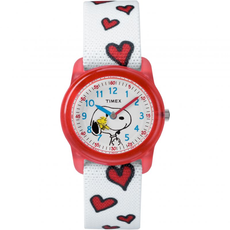 Image of  			   			  			   			  Childrens Timex Kids Analog x Peanuts Snoopy Hearts Watch