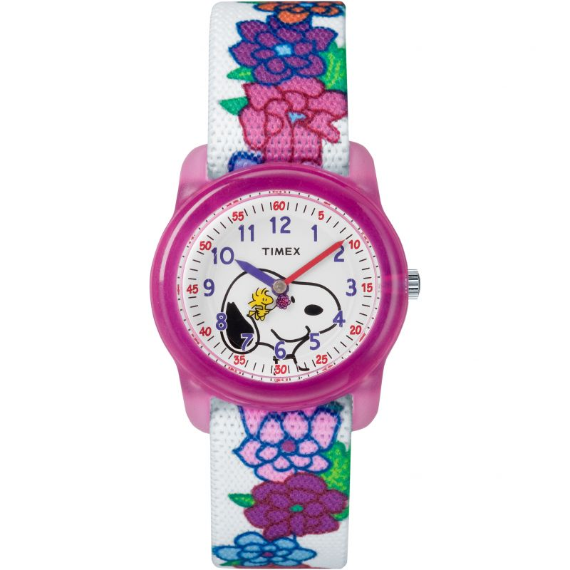 Image of  			   			  			   			  Childrens Timex Kids Analog x Peanuts Snoopy Flowers Watch