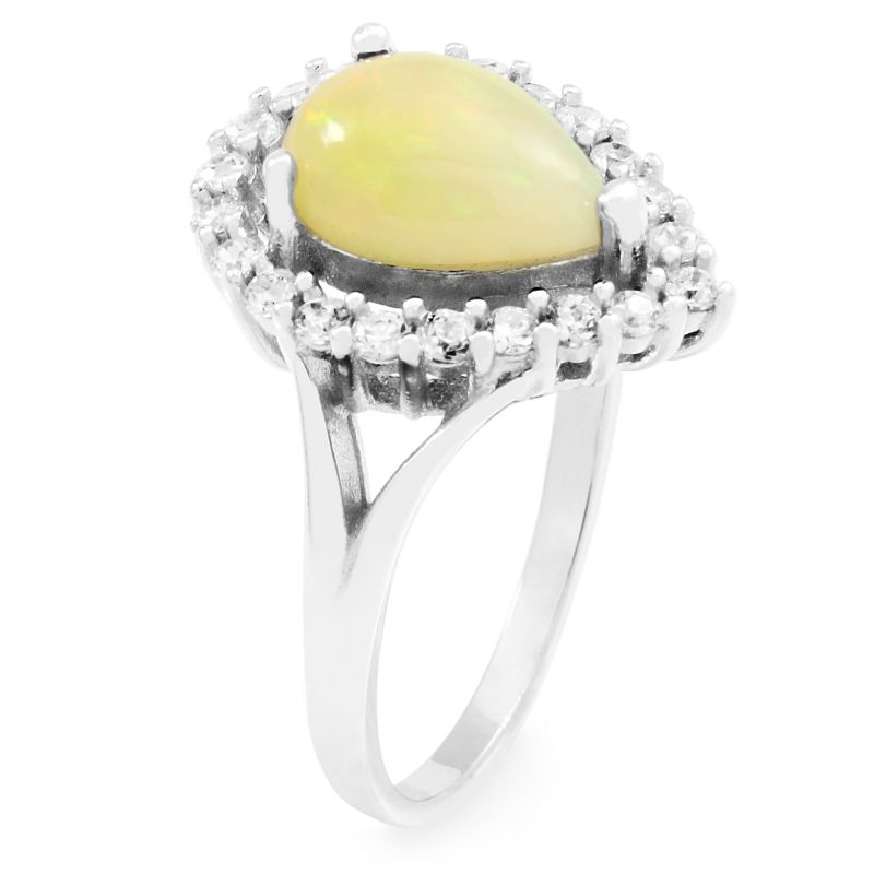 Ladies Gemstone Sterling Silver Ethiopian Opal Pear Cluster Ring Size P G0119RB-EO-P