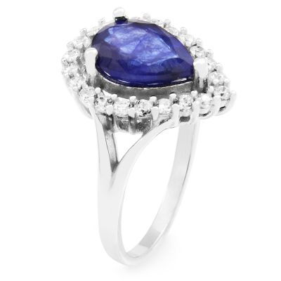 Ladies Gemstone Sterling Silver Sapphire Pear Cluster Ring Size L G0119RB-SA-L