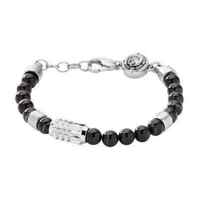 Mens Diesel Stainless Steel Beaded Bracelet DX0847040