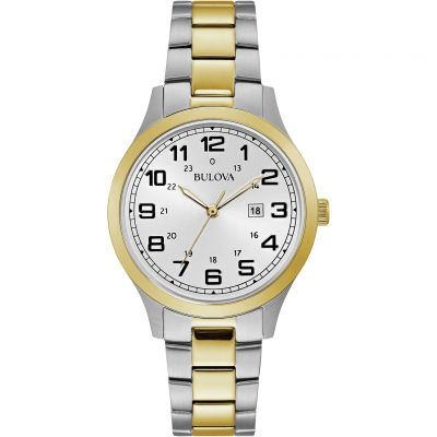 Ladies Bulova Quartz Dress Two-tone steel/gold plate Watch 98M128