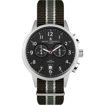 Montre Chronographe Homme Smart Turnout Classic Watch South Wales Borderers Strap STI2/BK/56/WB