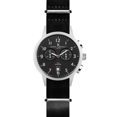 Smart Turnout Classic Watch Black Leather Herrenchronograph in Schwarz STI2/BK/56/BLA