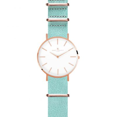 Smart Turnout Master Watch Mint Embossed Leather Strap Unisexuhr in Blau STL3/RW/56/MIN