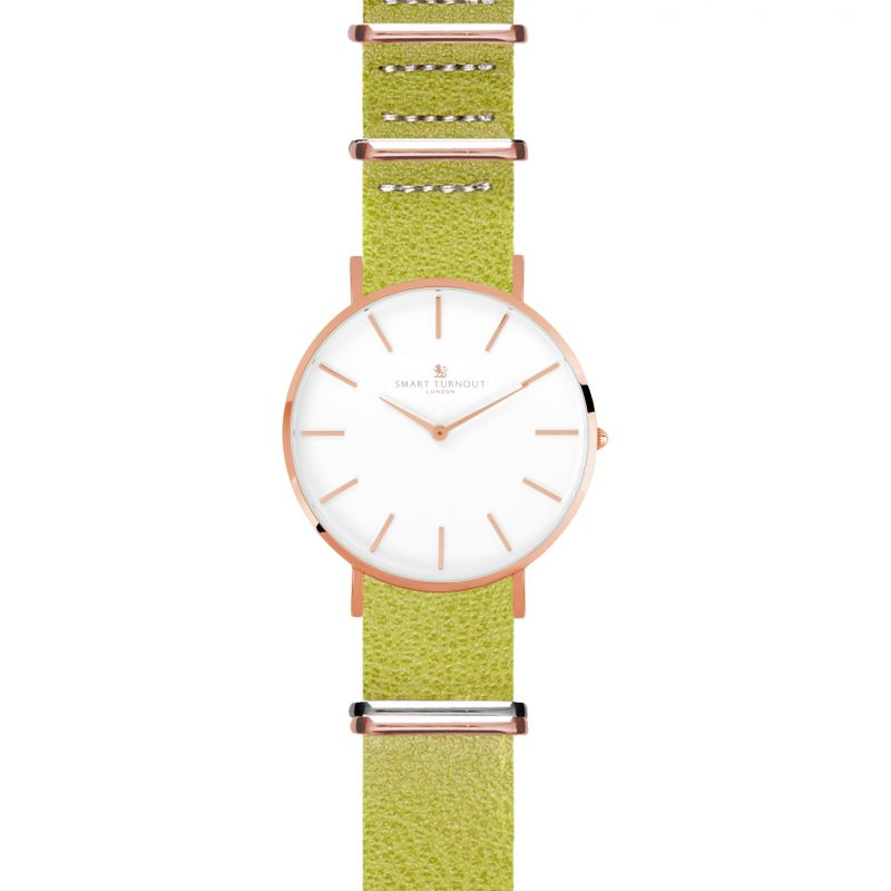Unisex Smart Turnout Master Watch Lime Embossed Leather Strap Watch