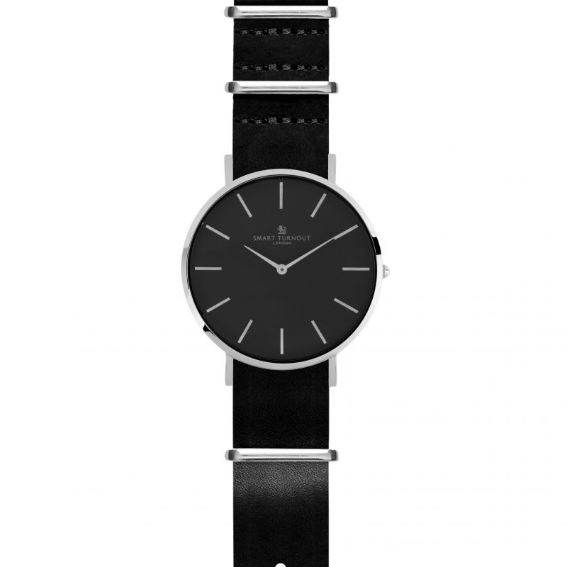 Unisex Smart Turnout Master Watch Black Leather Strap Watch