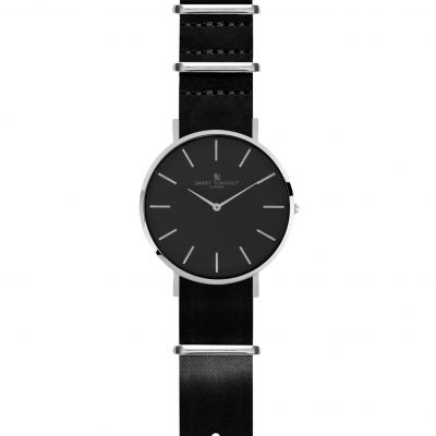 Smart Turnout Master Watch Black Leather Strap Unisexuhr in Schwarz STL3/SB/56/BLA