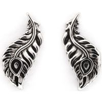 Ladies Chrysalis Silver Plated Bodhi Peacock Feather Earrings CRET0411AS