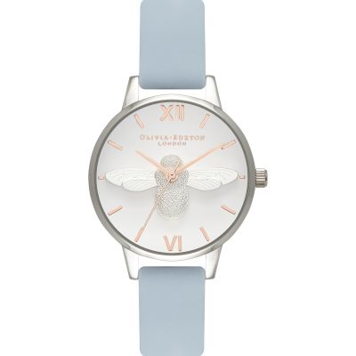 Zegarek damski Olivia Burton Moulded Bee Chalk Blue & Silver OB16AM125