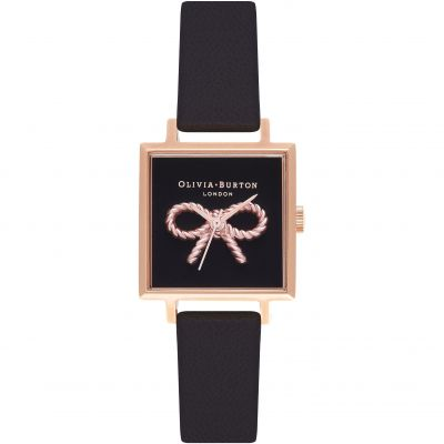 Olivia Burton Vintage Bow Black & Rose Gold Dameshorloge Zwart OB16VB03