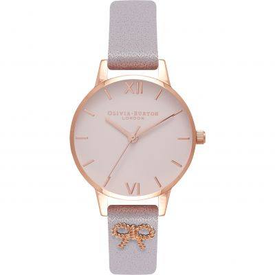 Embellished Vintage Bow Grey Lilac & Rose Gold Watch