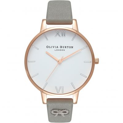 Montre Femme Olivia Burton White Dial Big Dial Rose Gold & Grey OB16VB06
