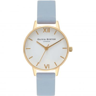 White Dial Gold & Chalk Blue Watch