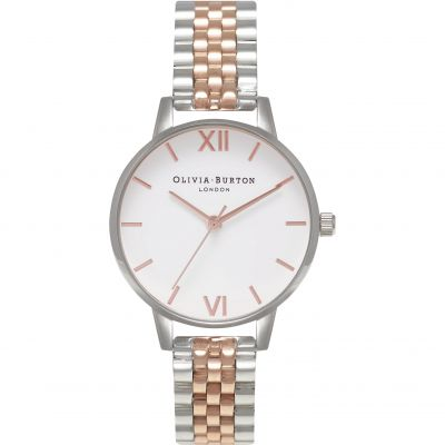 Olivia Burton White Dial Bracelet White Dial Bracelet Silver And Gold & Rose Gold And Silver Damenuhr in Zweifarbig OB16MDW25