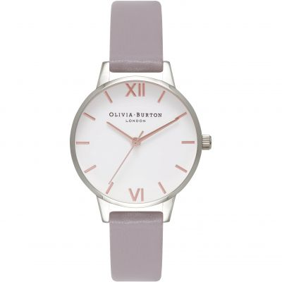 White Dial Silver & Grey Lilac Watch