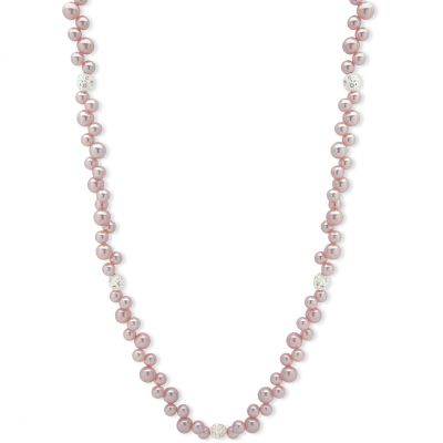 Ladies Anne Klein Silver Plated Pink Pearl & Crystal Necklace 60482897-G03