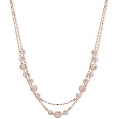 Anne Klein Dames Spotlight 2 Row Collar Necklace Verguld Rose Goud 60482623-9DH