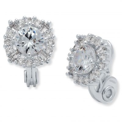 Anne Klein Dam Crystal Cluster Clip On Stud Earrings Silverpläterad 60458090-G03