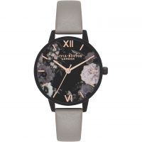 Ladies Olivia Burton After Dark Grey IP Black & Rose Gold Floral Watch