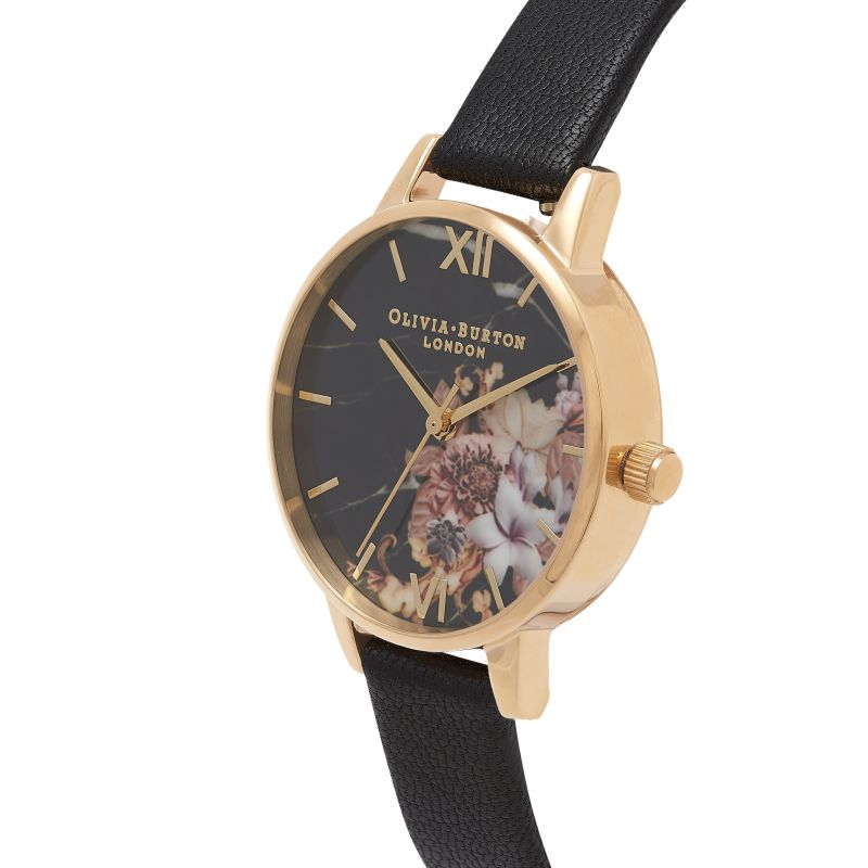 Marble Florals Gold & Black Watch OB16CS11 for £72