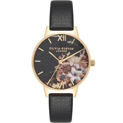Marble Florals Gold & Black Watch