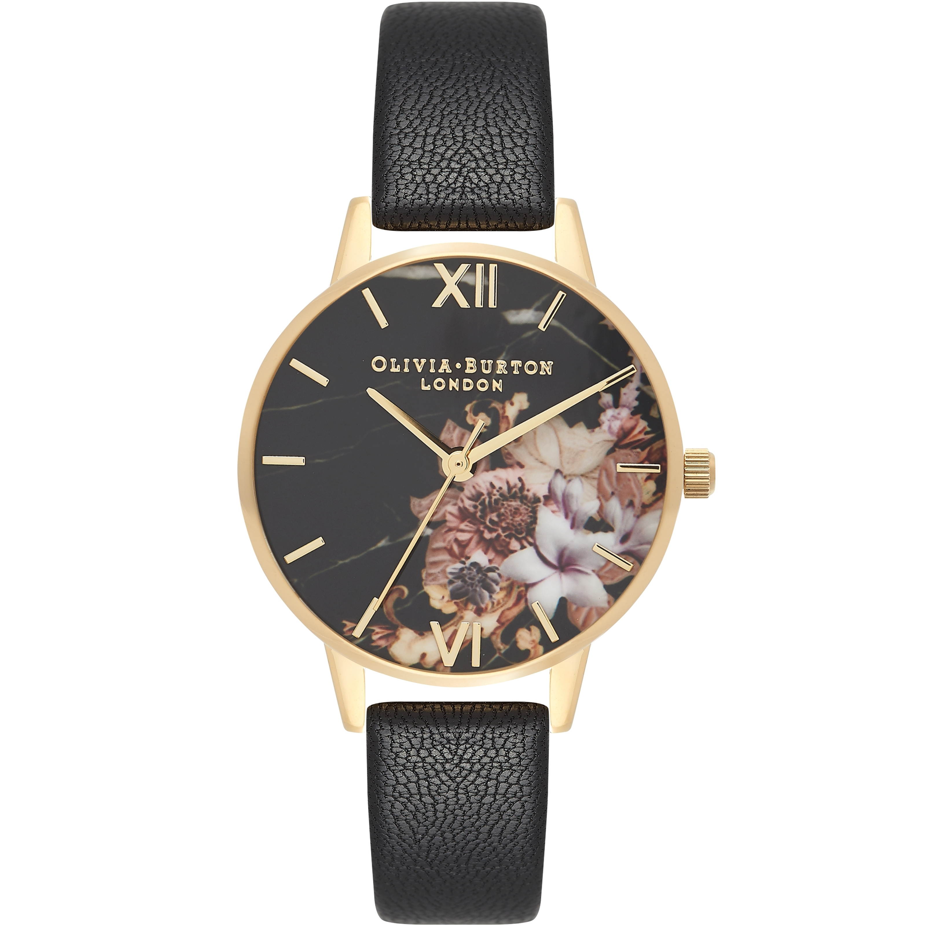 e8aae31b603 Ladies Olivia Burton Marble Floral Black   Gold Floral Watch ...
