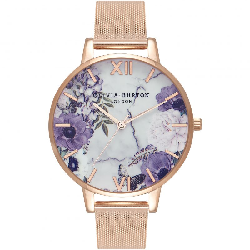 Marble Florals Silver  & Rose Gold Watch