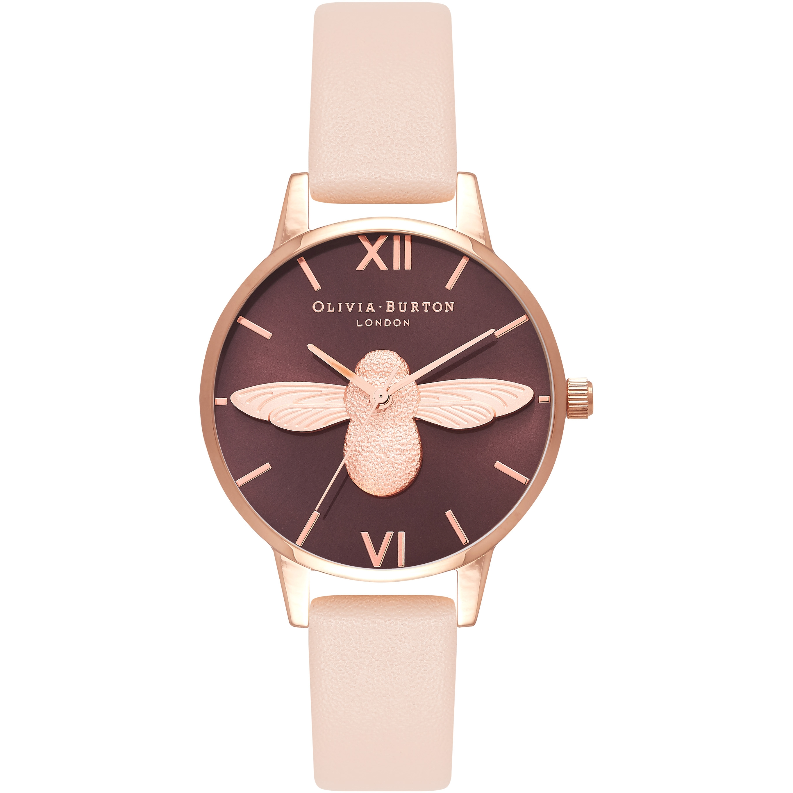 06e75b7703644 Ladies Olivia Burton 3D Bee Nude Peach   Rose Gold Watch (OB16AM124 ...