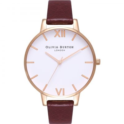 Montre Femme Olivia Burton White Dial Big Dial Rose Gold & Burgundy OB16BDW33