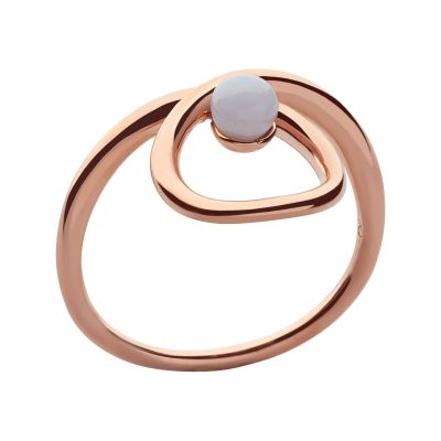 Ladies Links Of London Rose Gold Plated Sterling Silver Serpentine Blue Agate Stone Ring L 5045.6719