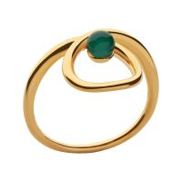 Ladies Links Of London Gold Plated Sterling Silver Serpentine Green Chalcedony Stone Ring L 5045.6723