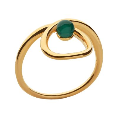 Ladies Links Of London Gold Plated Sterling Silver Serpentine Green Chalcedony Stone Ring N 5045.6722