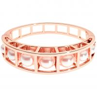 Karen Millen Cube Cage Pearl Hinged Bangle KMJ1133-24-28