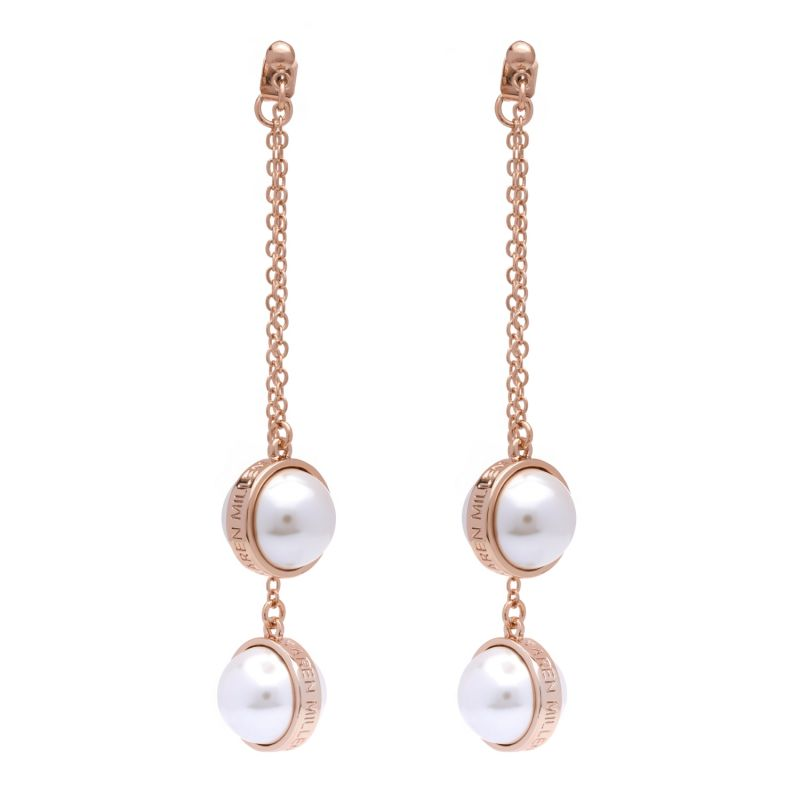 Karen Millen Logo Pearl Double Earrings KMJ1165-24-28