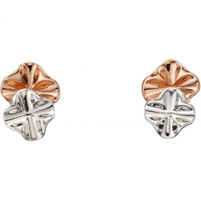 Ladies Elements Sterling Silver Ruffle Design Stud Earrings E5493