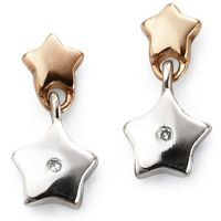 Ladies D For Diamond Sterling Silver Star Earrings E5482