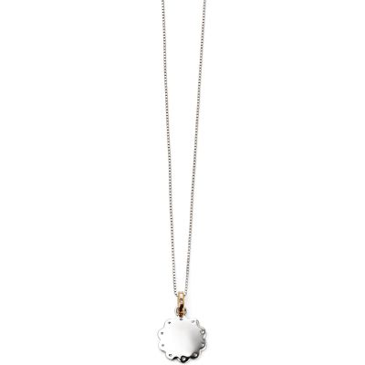 D For Diamond Dam Scallop Disc Necklace Sterlingsilver P4514