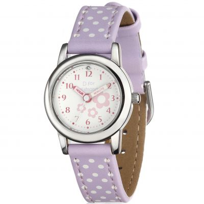 D For Diamond Kinderen Floral Lilac Watch Roestvrijstaal Z1101