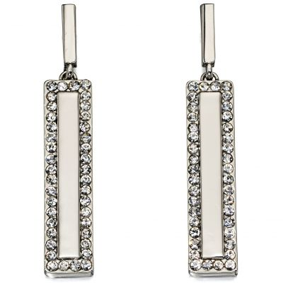 Ladies Fiorelli Silver Plated Crystal Bar Design Earrings E5438