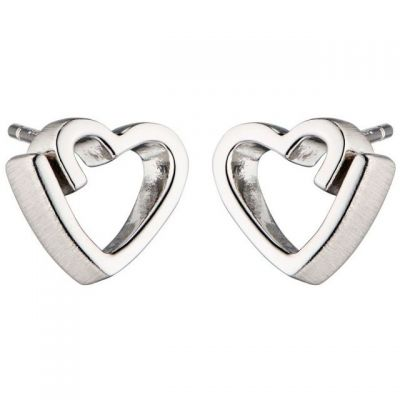 Damen Fiorelli Ribbon Heart Stud Ohrringe Sterling-Silber E5460